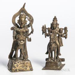 Two Bronze Votive Figures of Deities