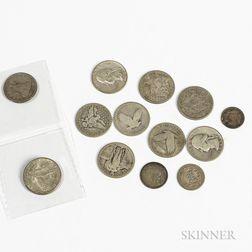 Twelve American Silver Coins