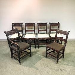 Set of Six Classical-style Carved and Turned Mahogany Chairs.     Estimate $300-500