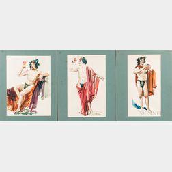 Lu Kimmel (American, 1905-1973)      Three Watercolors Depicting Bacchus.