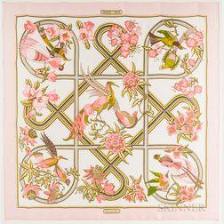 "Framed Hermes ""Caraibes"" Pink Silk Scarf"