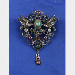 Renaissance Revival Silver and Gem-set Pendant Brooch
