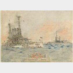 J. Richardson Jr. (American, 20th Century)  United States Battleship Georgia With the U.S. Bulldog.