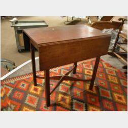 Chippendale Birch Drop-leaf Pembroke Table with Crossed Stretchers.