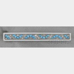 Art Deco Turquoise, Enamel, and Diamond Bar Pin, Raymond Yard