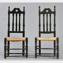 Near Pair of Black-painted Heart and Crown Side Chairs