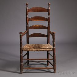 Maple and Ash Turned Slat-back Armchair