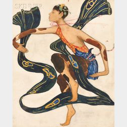 After Léon Bakst (Russian, 1866-1924)      Parody of Nijinsky in L'après-midi d'un faune   [The Afternoon of a Faun]