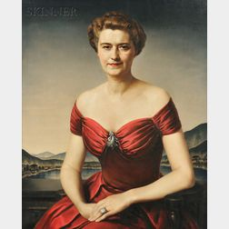 Gerald Leslie Brockhurst (Anglo-American, 1890-1978)      Jeannette Horlick-Bowles, Wife of John Bowles, Greenwich, Connecticut