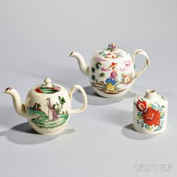 Three Staffordshire Creamware Tea Wares