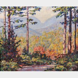 Marion P. Howard (American, 1883-1953)      Carter Notch From Garden Gate  /  A North Conway, New Hampshire View