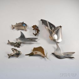 Eight Mexican Designer Sterling Silver Brooches