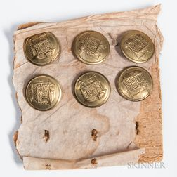 Six William Henry Harrison Campaign Buttons