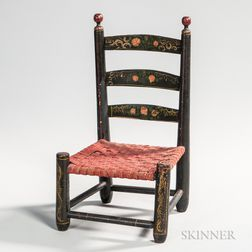 Miniature Paint-decorated Slat-back Side Chair