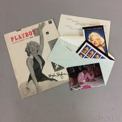 Hugh Hefner Autographed First Issue of Playboy   Magazine Featuring Marilyn Monroe.
