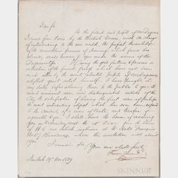 Gouraud, Francois Fauvel (1808-1847) Letter Signed, 29 November 1839.