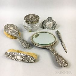 Six Silver Repousse Vanity Items