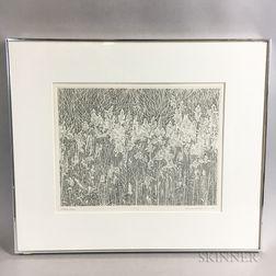 Framed Richard Ziemann Stipple Engraving Wetland Grasses