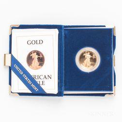 1987 $25 Proof American Gold Eagle.     Estimate $500-700