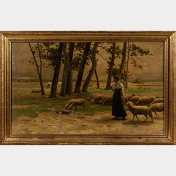 School of Henri Lerolle (French, 1848-1929)      Shepherdess with Flock