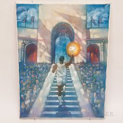 Oil on Canvas of the 1984 Los Angeles Olympics Torch Lighting