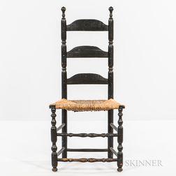 Black-painted Slat-back Side Chair