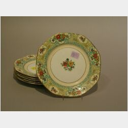Set of Six Adderleys Lenora Pattern Porcelain Luncheon Plates.