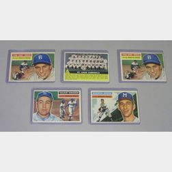 Five 1956 Topps Baseball Cards