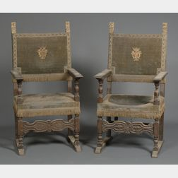 "Pair of Continental Baroque Walnut and Metallic Thread Upholstered ""Great Chairs"""