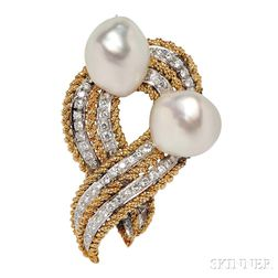 18kt Gold, Baroque Cultured Pearl, and Diamond Brooch, Trio