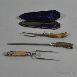Assembled Three-piece Antler-handled Carving Set