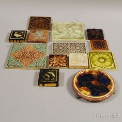 Twelve Art Pottery Tiles and a Wedgwood Trivet