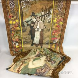 Two Figurative Paintings on Fabric:    Pilgrim Couple in a Painted Frame of Harvest Fruits and Vegetables