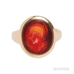 Gold and Carnelian Intaglio Ring