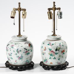 Pair of Export Porcelain Ginger Jar Lamps