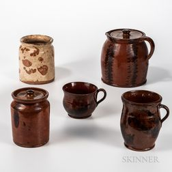 Five Redware Items