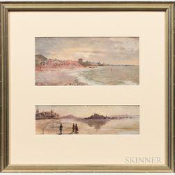 American/European School, 19th Century      Three Beach Scenes from St. Malo.