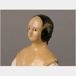 Tiny Papier-mache Shoulder Head Doll with Fancy Hair