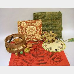 Arts & Crafts Embroidered Linen Doily, Pillow Cover Panel, and Sewing Bag with Woven Grass Bottom and Contents, a Fortuny Printed Fabri