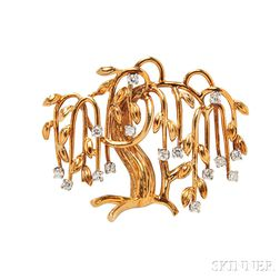 18kt Gold and Diamond Weeping Willow Brooch