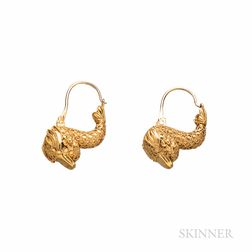 Archeological Revival Gold Dolphin-form Earrings