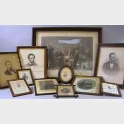 Eighteen Framed Assorted 19th Century Abraham Lincoln Portrait Prints