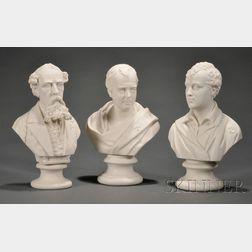Three Staffordshire Parian Portrait Busts
