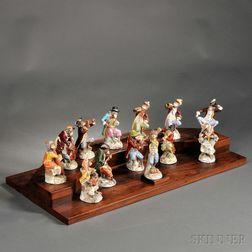 Thirteen-piece Dresden Porcelain Monkey Band