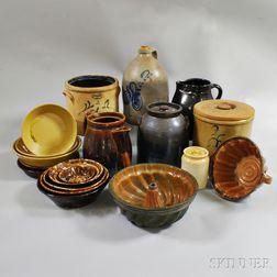Group of Mostly Rockingham-glazed Pottery