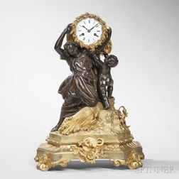 Empire Gilt and Patinated Bronze Figural Mantel Clock