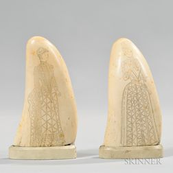 Pair of Scrimshaw Whale's Teeth
