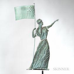 Molded Copper and Zinc Goddess of Liberty Weathervane