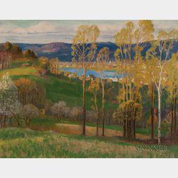 Harold Crocker Dunbar (American, 1882-1953)      Autumn Landscape, Possibly Oyster River, Chatham