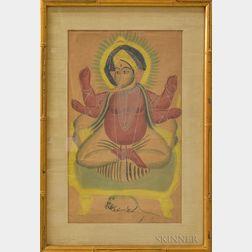 Framed Hindu Watercolor Depicting Ganesh